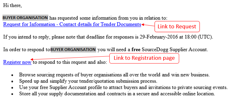 Supplier registration email - SourceDogg
